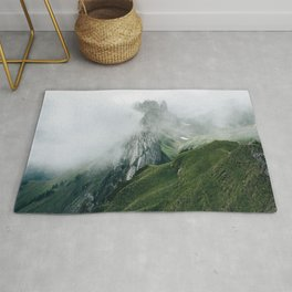 Switzerland Mountain Range in the Clouds - Landscape Photography Rug
