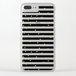 Modern black white gold polka dots striped pattern Clear iPhone Case