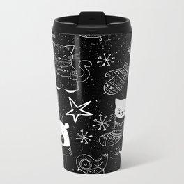 Merry Christmas-Simple X-mas Fun Doodle-Mix and Match with Simplicity of Life Metal Travel Mug