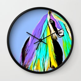 Friesian Fun Fashion Horse Oil Painting  Wall Clock