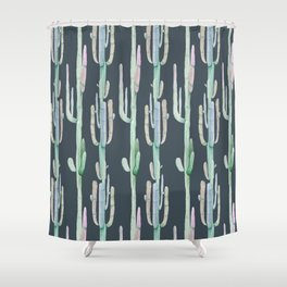 Cactus Stack on Navy Shower Curtain