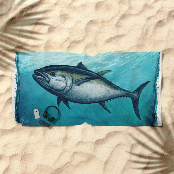 Bluefin Tuna ~ Watercolor Painting by Amber Marine,(Copyright 2016) Beach Towel