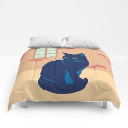 Black cat on the street Comforters