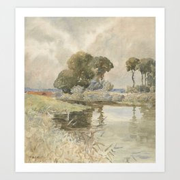 Landscape with river, England, by William Muller. Art Print