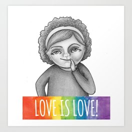 Love is Love Quirky Girl Art Print