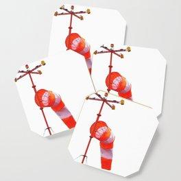 Orange-white windsock on white isolate background Coaster