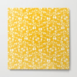Amber Yellow Floral Pattern Metal Print