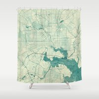 baltimore Shower Curtains featuring Baltimore Map Blue Vintage by City Art Posters