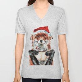 Morning Fox Christmas Unisex V-Neck