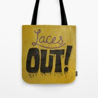 patriots Tote Bags featuring Laces out! by Chris Piascik
