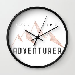 Full Time Adventurer Rosegold Mountains Wall Clock