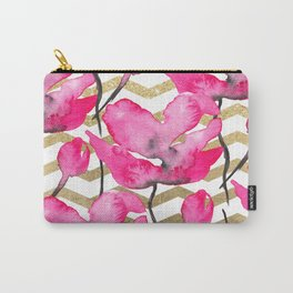 Modern neon pink floral watercolor black pattern gold chevron pattern Carry-All Pouch