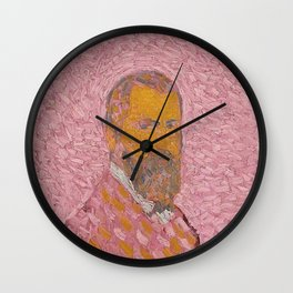 Self-Portrait of a Man in Rose by Cuno Amiet Wall Clock