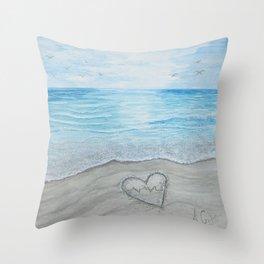 Heart themed-Rhythm of the Sea Throw Pillow