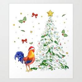 Chicken tree happy holiday december funny chicken Art Print