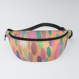 Colorful Dots on Orange Background Abstract Fanny Pack