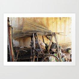 Brooms and Bicycles  Art Print