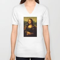 mona lisa V-neck T-shirts featuring Mona Lisa by Elegant Chaos Gallery
