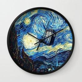 Tardis Starry Night Art Painting Wall Clock