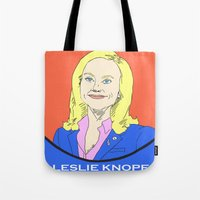 parks Tote Bags featuring Leslie Knope (Parks & Recreation) by Pan and Scan