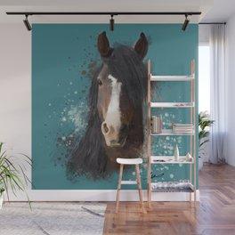 Black Brown Horse Artwork Wall Mural