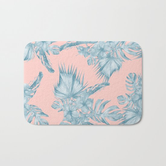 Dreaming of Hawaii Pale Teal Blue on Millennial Pink Bath Mat