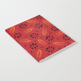 Red Bohemian Retro Floral Vector Pattern Seamless, Hand Drawn Stylized Notebook