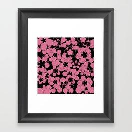 Floral black pink pattern Framed Art Print