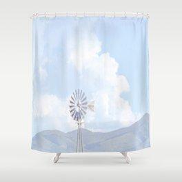 """Blue Windmill Blue Sky"" by Murray Bolesta Shower Curtain"