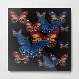 BLACK-BROWN  & BLUE BUTTERFLIES ART Metal Print