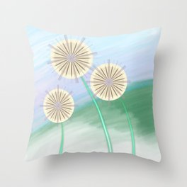 Dandelions on a Hill by Beebus Marble Throw Pillow