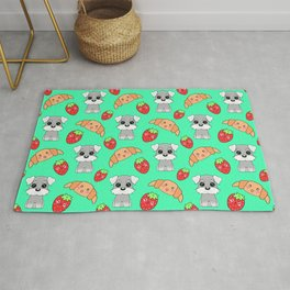 Cute happy funny baby puppy Schnauzers, sweet adorable yummy Kawaii croissants and red ripe summer strawberries cartoon light pastel green pattern design Rug
