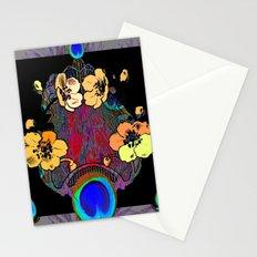Modern Floral Grey-Black Peacock Blue Eyes art Stationery Cards