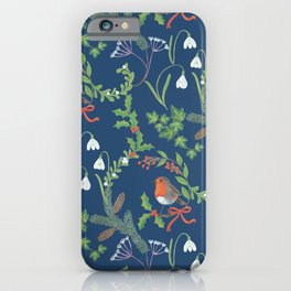 Christmas Chintz with Robin - dark blue Traditional chintz by Cecca Designs iPhone Case