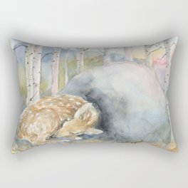 On the Stone, Fawn sleeping on stone Rectangular Pillow