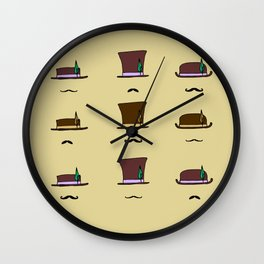 Hats & Moustaches Wall Clock