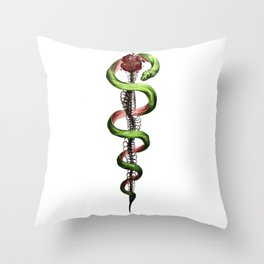Rod of Asclepius Throw Pillow