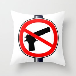 No Guns Alowed Throw Pillow