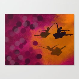 Ballet Dancer - Pink and Orange Art Print Canvas Print