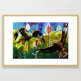 Kites Soaring Over Hills Framed Art Print