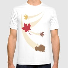 Fall Leaves MEDIUM White Mens Fitted Tee