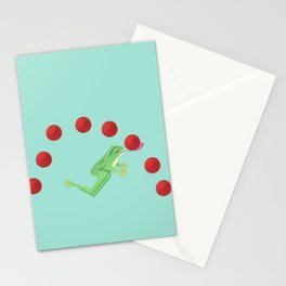 Juggling Frogs - blue background Stationery Cards