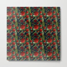 Australian Native Floral Pattern - Red Banksia Flowers Metal Print