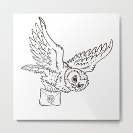 Owl Illustration — Flying Owl Design Metal Print
