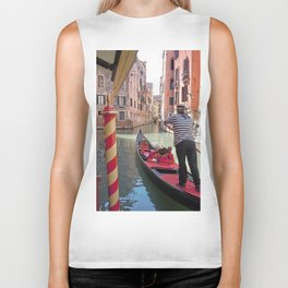 On the Canals in Venice Italy watching the Gondoliers Biker Tank