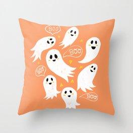 Friendly Ghosts on Orange Throw Pillow