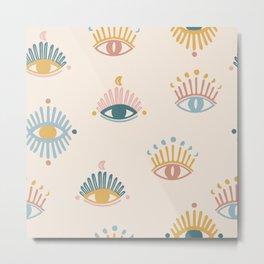 Mystic eyes seamless pattern,mystical background,magical eye Metal Print