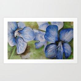 Violets Watercolor Painting Art Print