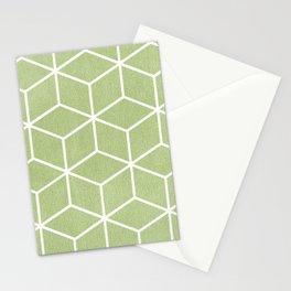 Lime Green and White - Geometric Textured Cube Design Stationery Cards