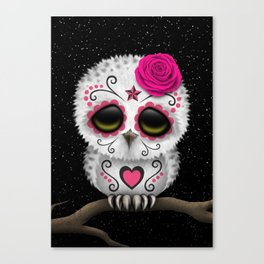 Adorable Pink Day of the Dead Sugar Skull Owl Canvas Print